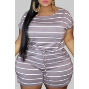 Lovely Leisure O Neck Striped Purple Plus Size One
