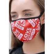 lovely Letter Print Red Face Mask