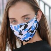 lovely Camo Print Blue Face Mask