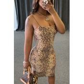 lovely Sexy Print Brown Knee Length Dress