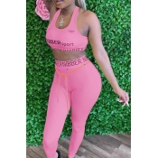 lovely Sportswear Letter Print Pink Two Piece Pants Set