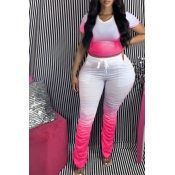 Lovely Casual Gradual Change Rose Red Plus Size Tw