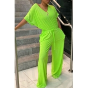 lovely Leisure V Neck Lace-up Green One-piece Jump