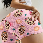 lovely Casual Print Pink Plus Size Shorts