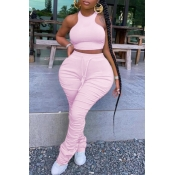 lovely Stylish Fold Design Pink Plus Size Two-piece Pants Set
