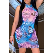 lovely Casual Butterfly Print Blue Mini Dress