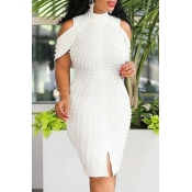 lovely Stylish Hollow-out White Knee Length Dress