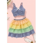 lovely Sweet Grid Print Multicolor Girl Two-piece
