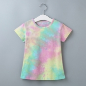 lovely Casual Tie-dye Multicolor Girl Mini Dress
