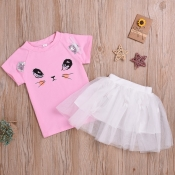 lovely Casual O Neck Print Pink Girl Two-piece Ski