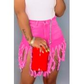 lovely Stylish Tassel Design Pink Denim Shorts