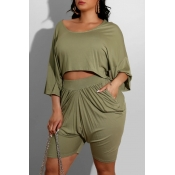 lovely Leisure O Neck Fold Design Army Green Loung