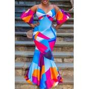 lovely Stylish Print Multicolor Maxi Dress