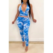 lovely Sportswear Tie Dye Zipper Design Blue Two Piece Pants Set
