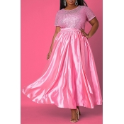 lovely Casual Patchwork Fold Design Pink Maxi Plus