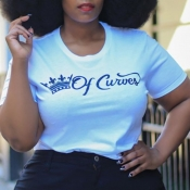 Lovely Casual O Neck Letter White Plus Size T-shir