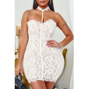 lovely Sexy Lace White Mini Dress
