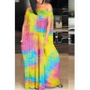 lovely Stylish Tie-dye Yellow One-piece Jumpsuit