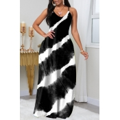 lovely Trendy Tie-dye Black Maxi Plus Size Dress