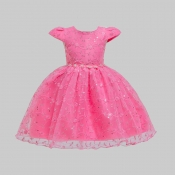 lovely Sweet Fold Design Pink Girl Knee Length Dre