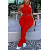 lovely Stylish Fold Design Red Plus Size Two-piece