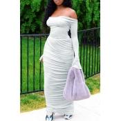 Lovely Stylish Fold Design Light Grey Maxi Dress