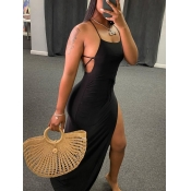 lovely Sexy Side High Slit Black Maxi Dress