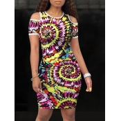 lovely Trendy Tie-dye Hollow-out Multicolor Knee L