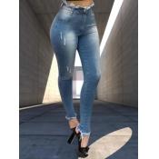 lovely Trendy Torn Edges Deep Blue Jeans