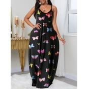 lovely Casual Butterfly Print Black Maxi Dress