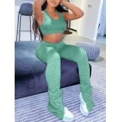lovely Sportswear Fold Design Green Two Piece Pant