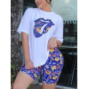 lovely Casual O Neck Lip Print Blue Two Piece Shor