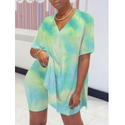 lovely Street V Neck Tie Dye Side Slit Blue Two Piece Shorts Set