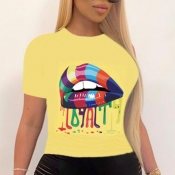 lovely Leisure O Neck Lip Print Yellow T-shirt