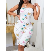 lovely Stylish Dew Shoulder Butterfly Print White
