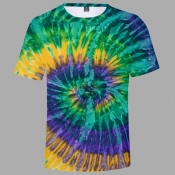 Lovely Trendy O Neck Tie-dye Green T-shirt