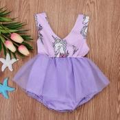 lovely Sweet O Neck Cartoon Print Purple Girl Mini