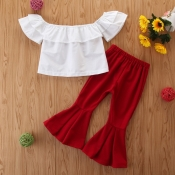 lovely Sweet Flounce Design White Girl Two-piece P