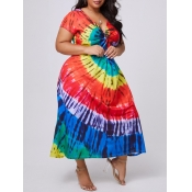 lovely Casual V Neck Tie-dye Multicolor Ankle Leng