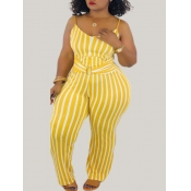lovely Trendy Striped Print Yellow Plus Size One-p