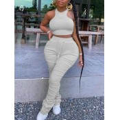 lovely Stylish Fold Design Grey Plus Size Two-piece Pants Set