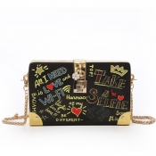 Lovely Casual Letter Print Black Messenger Bag