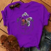 Lovely Leisure O Neck Print Purple Plus Size T-shi