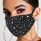 Lovely Rhinestone Decorative Black Face Mask