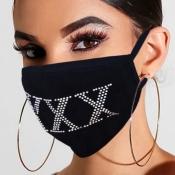 Lovely Letter Rhinestone BlackFace Mask