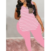 Lovely Street Striped Pink Plus Size T-shirt