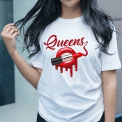 lovely Street O Neck Lip Print White T-shirt