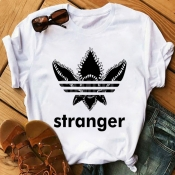 lovely Sweet O Neck Print White T-shirt