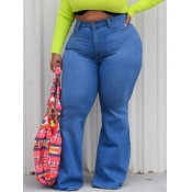 lovely Casual Basic Blue Plus Size Jeans
