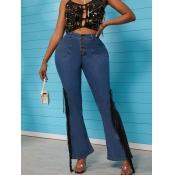 lovely Casual Tassel Design Flared Deep Blue Jeans